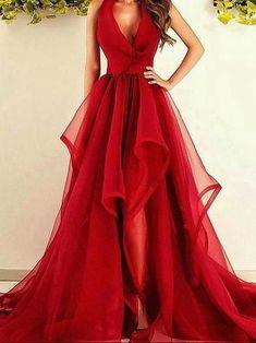 Sexy Prom Dresses Asymmetrical Halter Burgundy Long Prom Dress/Evening Dress JKL091