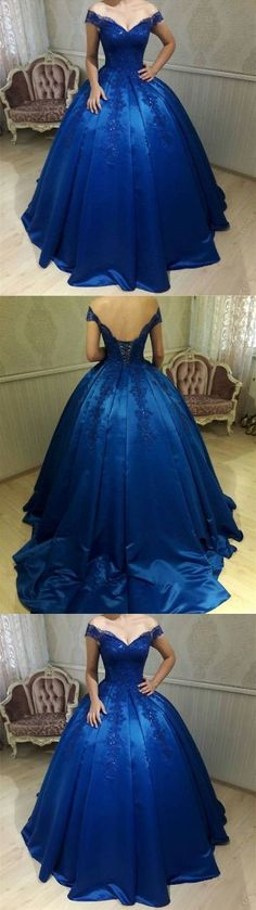 new fashions ball gown lace Prom dresses Formal Dress satin Prom Dresses Sexy royal blue Evening Gowns   G383