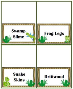 Swamp Food Ideas with Free Printable Food Tents #Swamp #Party