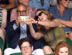 Pin for Later: We Played Spot the Celebrity Tennis Fan at Wimbledon Stanley Tucci and Felicity Blunt