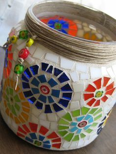 Sostenedor de vela del tarro multicolor por valleybeadglassart