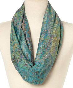 Look what I found on #zulily! Turquoise & Green Feather Pashmina Wool-Silk Blend Infinity Scarf #zulilyfinds