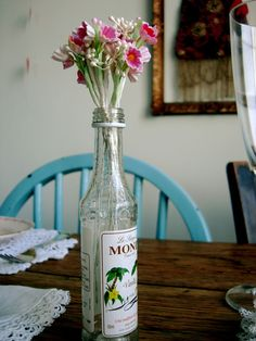 Upcycled syrup bottle - could work with any good looking glass bottle Lifestyle Store, Everyday Items, Bottle Crafts, Glass Bottles, Vodka Bottle, Red And White, Upcycle, Flora, How To Look Better