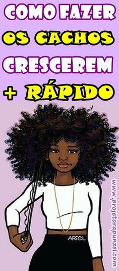 Fazer o cabelo cacheado ou crespo crescerem mais rápido! Vamos te ensinar como fazer o Projeto Rapunzel para cabelos cacheados e crespos, dessa forma você poderá iniciar esta série de procedimentos capilares para acelerar o crescimento dos seus fios. Curly Afro Hair, Kinky Hair, Black Queen, Edges Hair, Going Natural, Curled Hairstyles, Hair Videos, Box Braids, My Hair