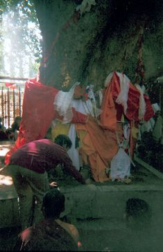 https://flic.kr/p/nV6Fxv | Pilgrim offering candle at the base of the Bodhi Tree, kataks wrapping the tree, vajra seat, where Lord Buddha gained enlightenment, before the fence was added, Tibetan Buddhists, Bodhagaya, India