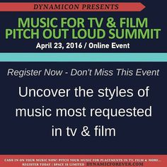 Registration is NOW OPEN for the Pitch Out Loud Online Summit April 23 2016  What to Expect - We're bringing together some of the finest music licensing experts to spend the day talking all things music licensing in order to help you the music creator get your music placed in television films games & digital media.  What You'll Learn:  The Styles of Music Getting Licensed In 2016 Building Your Network in the Sync Community How to Pitch Your Music for Placements If and How Your Music Measures…