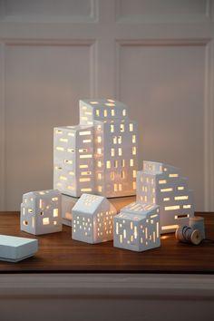 Kahler Urbania Tea Light House - Ceramic Candle Holder - Cubism