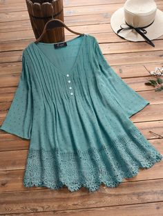 Jacquard Pleated Lace Hollow Out V-neck Plus Size Blouse can cover your body well, make you more sexy, Newchic offer cheap plus size fashion tops for women. Cotton Blouses, Shirt Blouses, Shirts, Cotton Linen, Plus Size Blouses, Work Fashion, Fashion Outfits, Blouses For Women, Plus Size Fashion