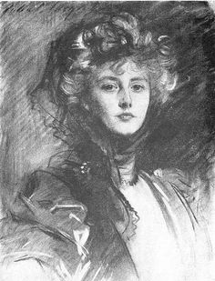Lady Helen Vincent, as sketched by John Singer Sargent around 1904. He also painted an impressive full-length portrait in oils of the same sitter.