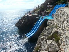 Citta Del Mare Hotel features the Toboggan slide, which is open exclusively to guests of the hotel and is arguably Sicily's most amazing water attraction. A top to bottom journey on this three-level slide will drop you into four separate bodies of water – three pools and and the grand finale of the warm, clear Gulf of Castellammare in the Mediterranean Sea at the foot of the slide   Shared by Fireman's Finds
