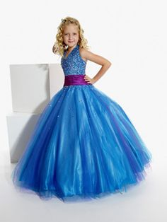 Girls Pageant Dresses - Tiffany Designs Princess ball gowns will make your little girl feel like a real princess, style Junior Pageant Dresses, Little Girl Pageant Dresses, Gowns For Girls, Pageant Gowns, Girls Dresses, Baby Pageant, Dresses 2013, Royal Blue Dresses, Prom Dresses Blue
