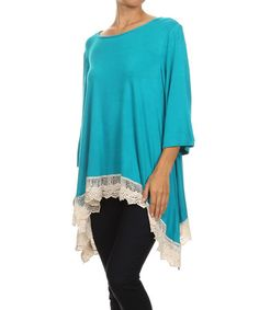 Another great find on #zulily! Aqua & Ivory Lace-Hem Tunic - Women & Plus #zulilyfinds