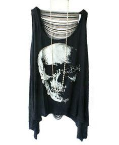 Punk Style Skeleton Print T-shirts with Sexy Fringe Back