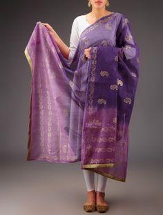 Purple-Pink Kota Doria Cotton Khari Block Printed Dupatta