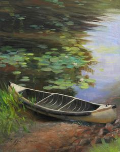 """""""Old Canoe"""" - - plein air oil painting by Anna Rose Bain from a scene in northern Wisconsin. Canvas Art, Canvas Prints, Art Prints, Canvas Paintings, Fine Art Amerika, Anna Rose, Pond Life, Autumn Art, Autumn Painting"""