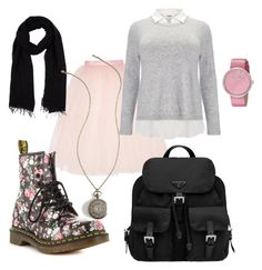 """""""Early Spring school outfit"""" by poppyred24 ❤ liked on Polyvore featuring Ballet Beautiful, Studio 8, Dr. Martens, Blue Les Copains, Prada and Marc by Marc Jacobs"""