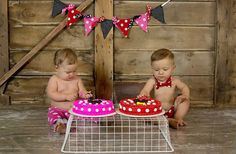 Mickey Mouse and Minnie Mouse Twins First Birthday Cake Smash Set - Diaper Covers and Bow Tie - Leg Warmers and Banner Available on Etsy, $54.50