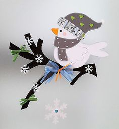 Fensterbild - Vogel auf dem Zweig Winter 2 Weihnachten - Dekoration - Tonkarton!