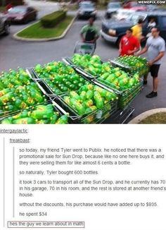 If Tyler buys 600 sun drop sodas for 6 cents a bottle, how much does Tyler pay? If Tyler had bought each soda for to original price, it would cost him $935. What is the percentage of Tyler's discount?