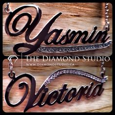 Here is a couple more samples of name necklaces that I just finished. Done in white gold and diamonds. You all like the look? Perfect gift for a bridal party. This is what I do. #diamond #diamonds #wedding #weddings #engagementring #ring #rings #bride #brides #jewellery #jewelry #necklace #pendant #thediamondstudio