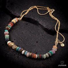 Collar de oro de la mezcla de la piedra preciosa por JunamJewelry