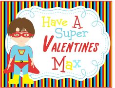 Set of 24-Personalized Preppy Childrens Kids Valentine Cards, Super Boy, Perfect For Class Parties. $20.00, via Etsy.