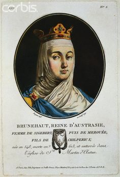 1791 --- Wife of Sigebert, she then married Merouee, son of Chilperic I. She lived (Austrasie was a Merovingien kingdom, fl. in NE of the Gaulish territories, capital Metz) --- Image by © Stapleton Collection/Corbis France, My Heritage, Middle Ages, Adele, Ancestry, Wicca, Royalty, Queen, Caricatures