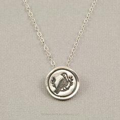 PMC fine silver bird pendant necklace, Precious Metal Clay jewelry by BellesBijouxDesigns