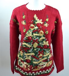 This isn't an ugly Christmas sweater. No, its got specialty stitches to decorate this ornament filled Christmas tree. Ready for the upcoming holiday party! XMAS Tree Petite Medium Holiday Sweater Specialty Stitch Ornament Beads Red Knit