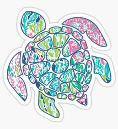 Lilly Pullitzer sea turtle Sticker