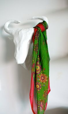 f5bf144ead0d Indian Block Print Silk Chiffon Cotton Scarf Wrap Hand Painted with Sequins  Green