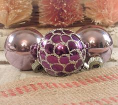 Vintage Christmas Ornaments in Silver and Plum/ by AloofNewfWhimsy