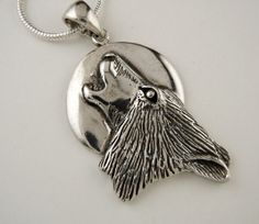 Large Sterling Silver Wolf Howling at Moon Pendant