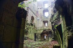 The Abandoned Stone Ruins of the 14th Century Harewood Castle, Leeds, West Yorkshire, U.K.