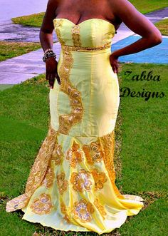 African Yellow And Gold Lace Formal Dress Prom by ZabbaDesigns