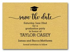 11 high school graduation announcement wording ideas pinterest a graduation hat accents these shimmery gold graduation save the date cards let your guests filmwisefo