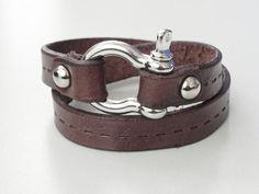 Brown Leather Bracelet Leather wrap Leather Cuff with door BeadSiam, $12.95