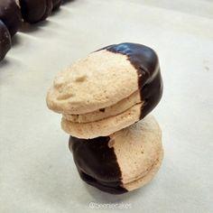 Almond meringue with coffee cream, dipped in dark chocolate. Made by Beenie Cakes - Sabine van Biene