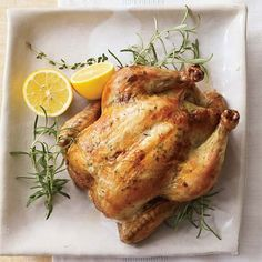 Thank-you Beretta Farms for the recipe:    Lemon & Rosemary Chicken  • 1 Beretta Farms Whole Chicken  • 2 Lemons  • 2 Cloves garlic  • Rosemary (dry or 2 sprigs fresh)  • 1 tbsp olive oil  • Sea salt & pepper to taste  1. Preheat oven to 300ºF  2. Cut lemons into wedges, peel garlic & cut in half  3. Stuff lemons, garlic & rosemary into the chicken  4. Massage the olive oil all over the chicken skin and season with S&P  5. Cook slowly for 1–1.5 hr then let sit uncovered for 20min
