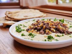 My favorite! Hummus with shawerma meat and pine nuts