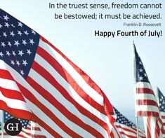 """In the truest sense, freedom cannot be bestowed; it must be achieved."" Franklin D. Roosevelt Happy Fourth of July from GillespieHall Happy Fourth Of July, Social Media Content, Roosevelt, Public Relations, Freedom, Marketing, Liberty, Political Freedom, Roosevelt Family"