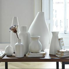 Always a staple with colorful walls; Pure White Ceramic Vases | west elm