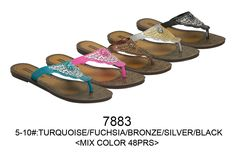 f0128058a1787c This wholesale sandal bulk lot is for 48 brand new pairs of fashion women  sandals flip flops Assorted colors as pictured and assorted sizes 5 thru  More qty