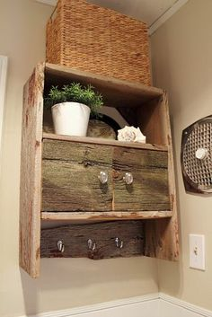 reclaimed wood for a over the bathroom cabinet