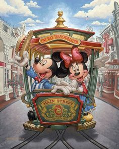 One way transportation Main Street Disney Mickey & Minnie Mouse. Disney Mickey Mouse, Walt Disney, Mickey And Minnie Love, Retro Disney, Minnie Mouse, Mickey Mouse And Friends, Orlando Disney, Punk Disney, Disney Cruise