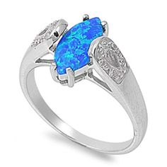 Heart and Teardrop Halo Pendant Pear Created Blue Opal Round Cubic Zirconia 925 Sterling Silver 38mm