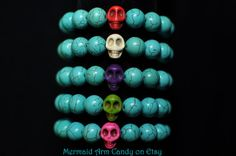 Turquoise Bracelet with Multi-Coloured Skull Accent Beads - Mermaid Arm Candy - In Stock: $12.99 (CAD)