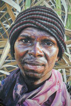 Portrait pastel sec - portrait soft pastel - artist Helena Hugo - In the Sugar Fields III