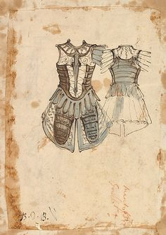 Baccio del Bianco (Italian, 1604–1656) (and workshop). Design for a Soldier's Costume with a Cuirass (front and back), 1620–56. The Metropolitan Museum of Art, New York. The Elisha Whittelsey Collection, The Elisha Whittelsey Fund, 1948 (48.122.2(8b)) #halloween #costume