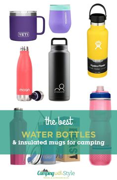 Here we pick 11 of the best insulated water bottles, cups and mugs to keep you cool when it's hot outside. #hydration #water #camping #workout #exercise #waterbottle #flask #yeti #hydroflask #moonflask #corkcicle